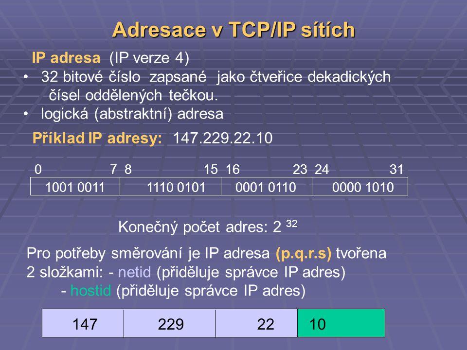 Adresace v TCP/IP sítích