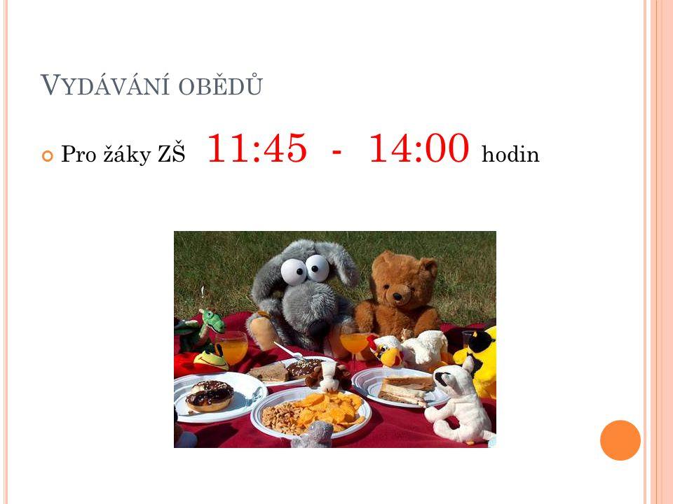 Vydávání obědů Pro žáky ZŠ 11:45 - 14:00 hodin