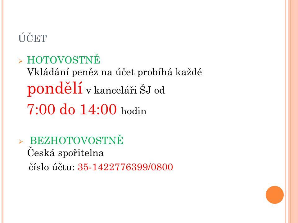 účet HOTOVOSTNĚ Vkládání peněz na účet probíhá každé pondělí v kanceláři ŠJ od.