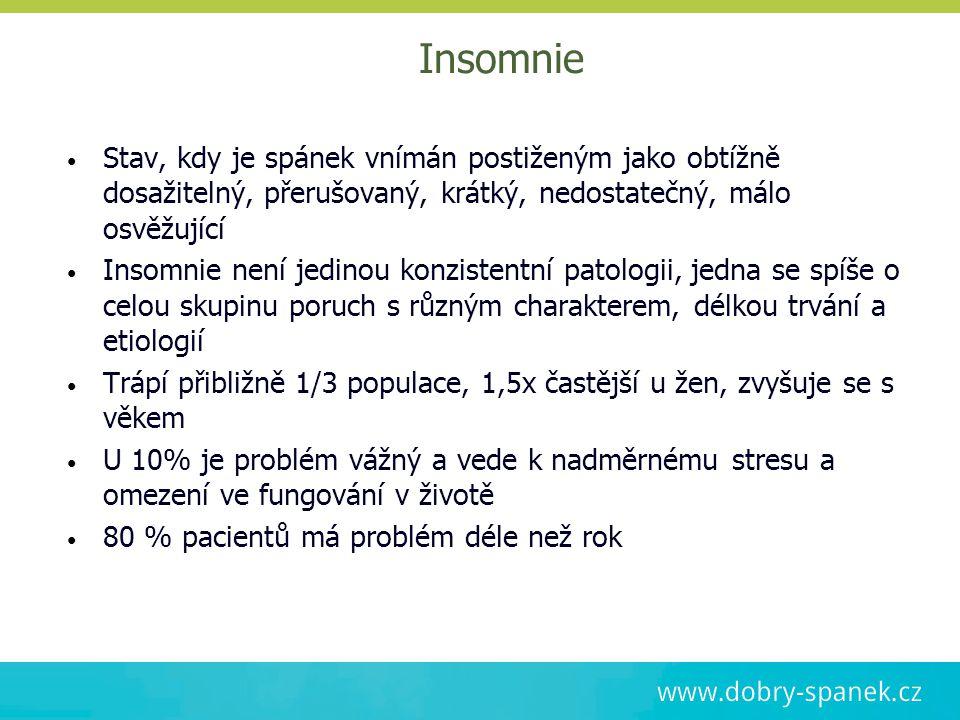 Insomnie Stav, kdy je spánek vnímán postiženým jako obtížně dosažitelný, přerušovaný, krátký, nedostatečný, málo osvěžující.