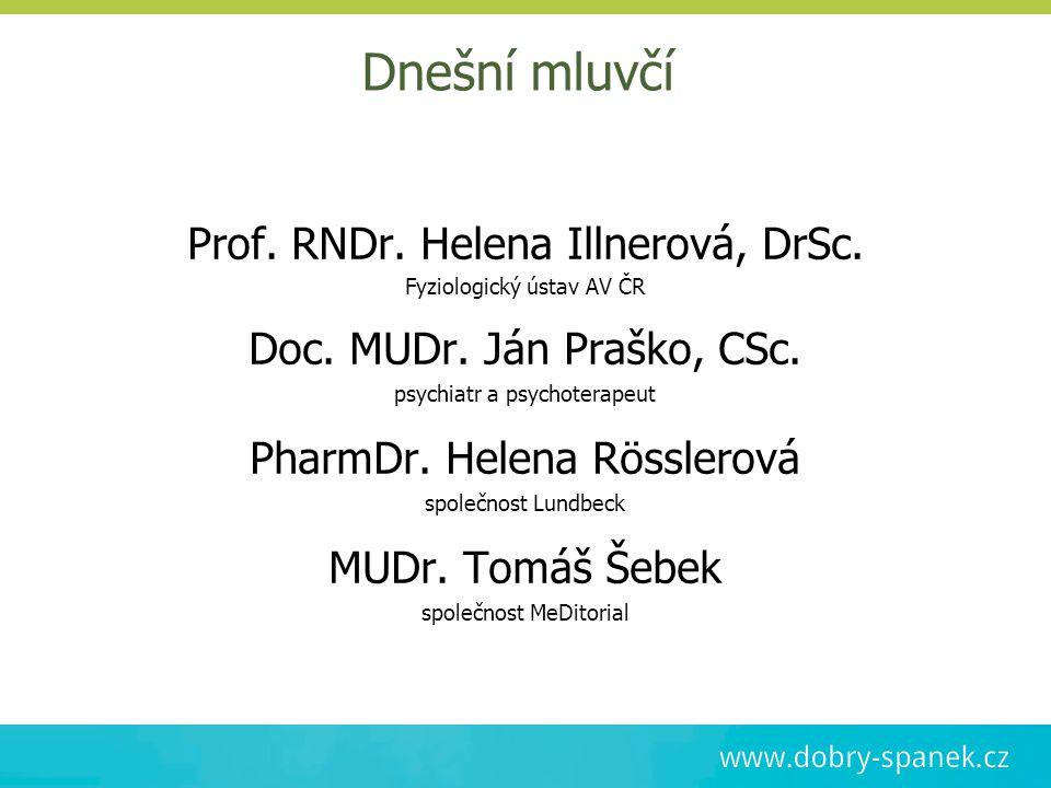 Dnešní mluvčí Prof. RNDr. Helena Illnerová, DrSc.