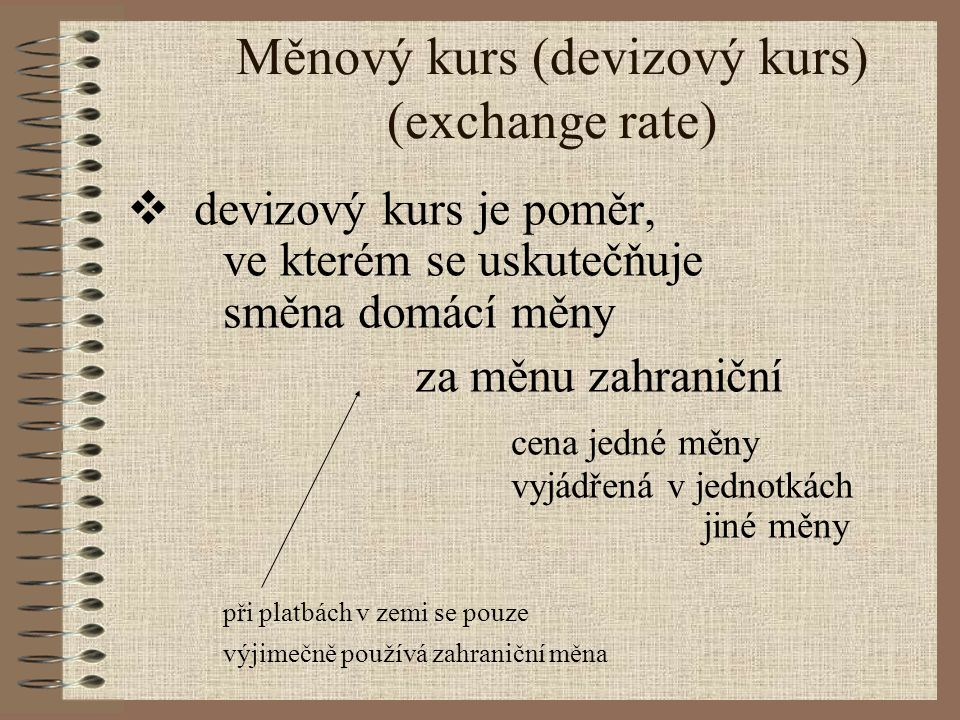 Měnový kurs (devizový kurs) (exchange rate)