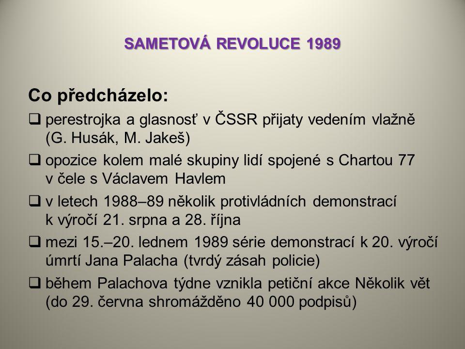 Co předcházelo: SAMETOVÁ REVOLUCE 1989
