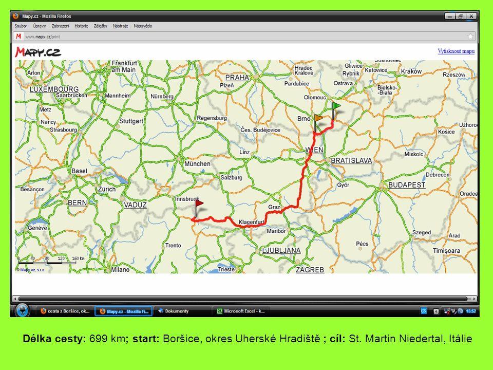 Délka cesty: 699 km; start: Boršice, okres Uherské Hradiště ; cíl: St