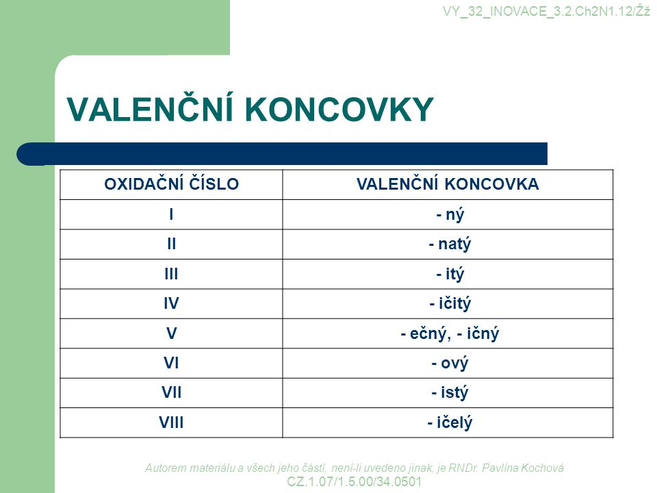VALENČNÍ KONCOVKY OXIDAČNÍ ČÍSLO VALENČNÍ KONCOVKA I - ný II - natý