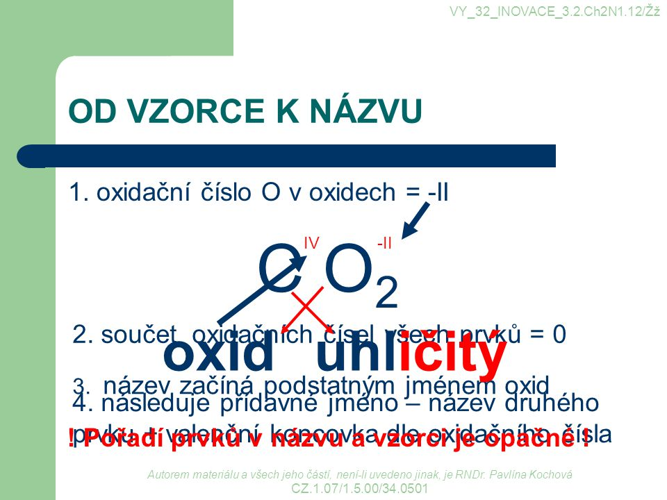 C O2 oxid uhličitý OD VZORCE K NÁZVU