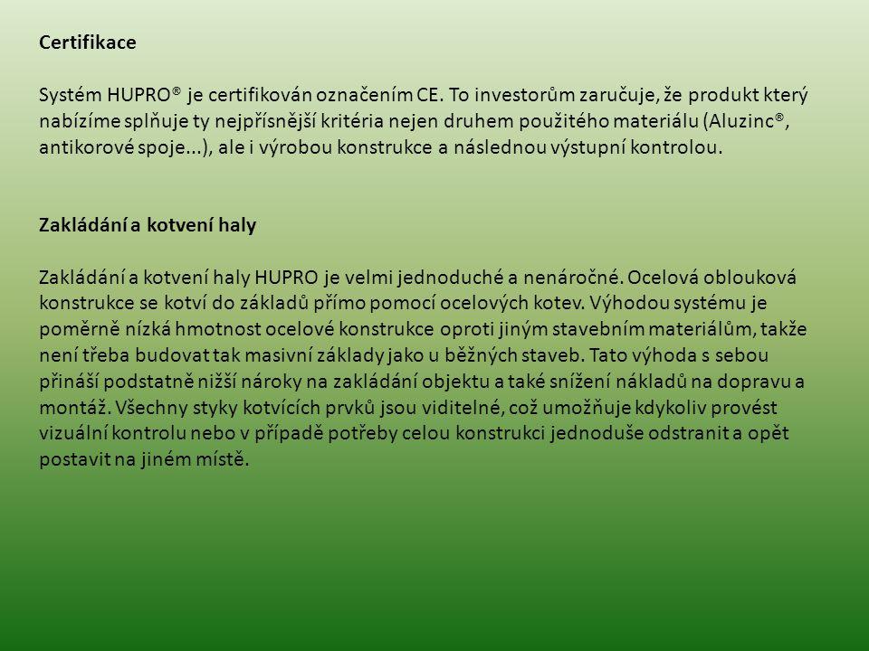 Certifikace Systém HUPRO® je certifikován označením CE