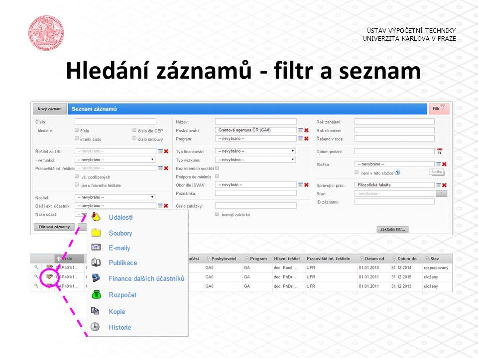 Hledání záznamů - filtr a seznam