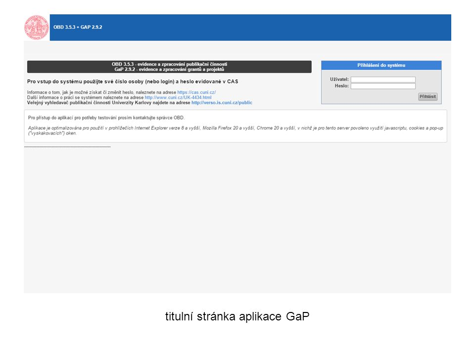 ukázka zobrazení čerpání prostředků grantu v aplikaci