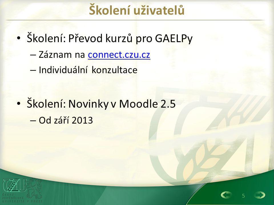 Školení uživatelů Školení: Převod kurzů pro GAELPy