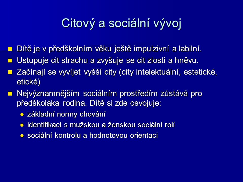 Citový a sociální vývoj