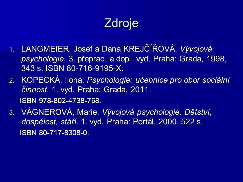 Zdroje LANGMEIER, Josef a Dana KREJČÍŘOVÁ. Vývojová psychologie. 3. přeprac. a dopl. vyd. Praha: Grada, 1998, 343 s. ISBN 80-716-9195-X.