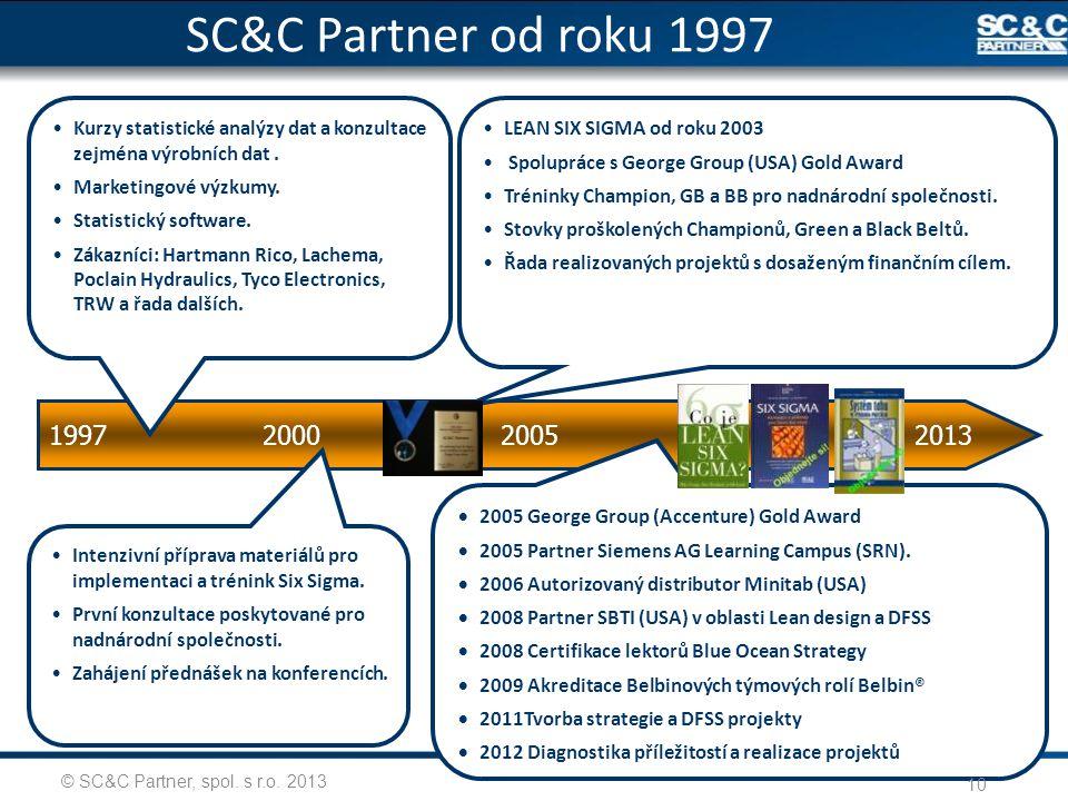 SC&C Partner od roku 1997 Kurzy statistické analýzy dat a konzultace zejména výrobních dat . Marketingové výzkumy.