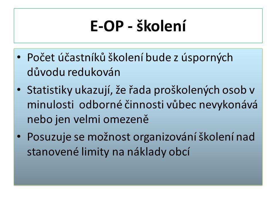 E-OP - školení Počet účastníků školení bude z úsporných důvodu redukován.