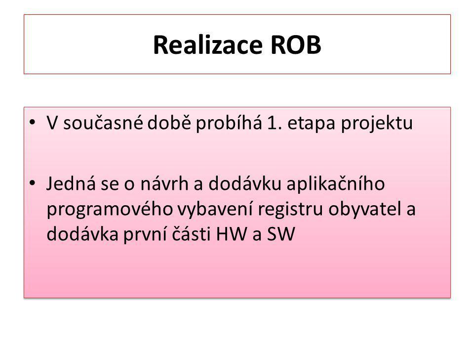 Realizace ROB V současné době probíhá 1. etapa projektu