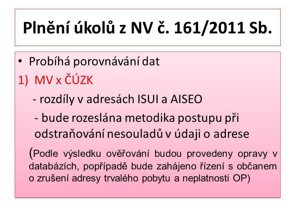 Plnění úkolů z NV č. 161/2011 Sb. Probíhá porovnávání dat MV x ČÚZK