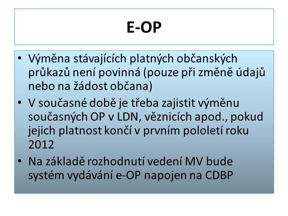 E-OP Výměna stávajících platných občanských průkazů není povinná (pouze při změně údajů nebo na žádost občana)