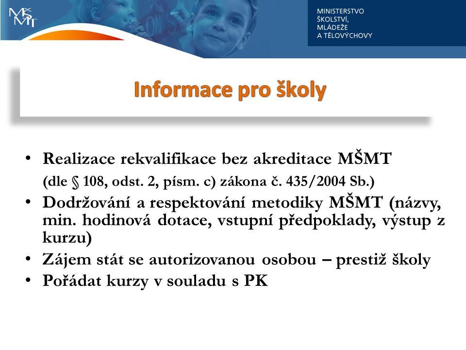 Školy Informace pro školy Realizace rekvalifikace bez akreditace MŠMT