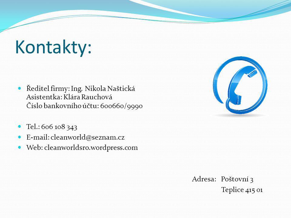 Kontakty: Ředitel firmy: Ing. Nikola Naštická Asistentka: Klára Rauchová Číslo bankovního účtu: 600660/9990.