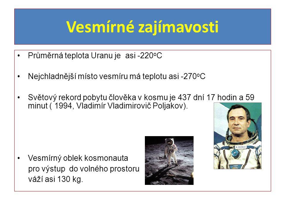 Vesmírné zajímavosti Průměrná teplota Uranu je asi -220oC
