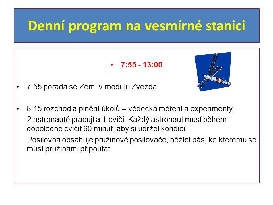 Denní program na vesmírné stanici