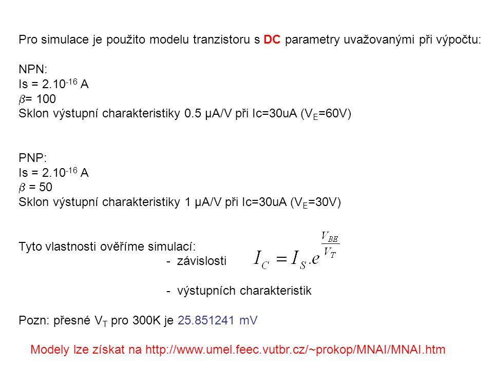 Pro simulace je použito modelu tranzistoru s DC parametry uvažovanými při výpočtu: