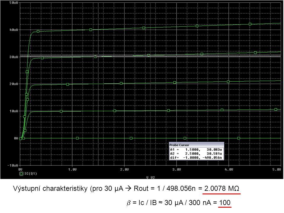 Výstupní charakteristiky (pro 30 μA  Rout = 1 / 498.056n = 2.0078 MΩ