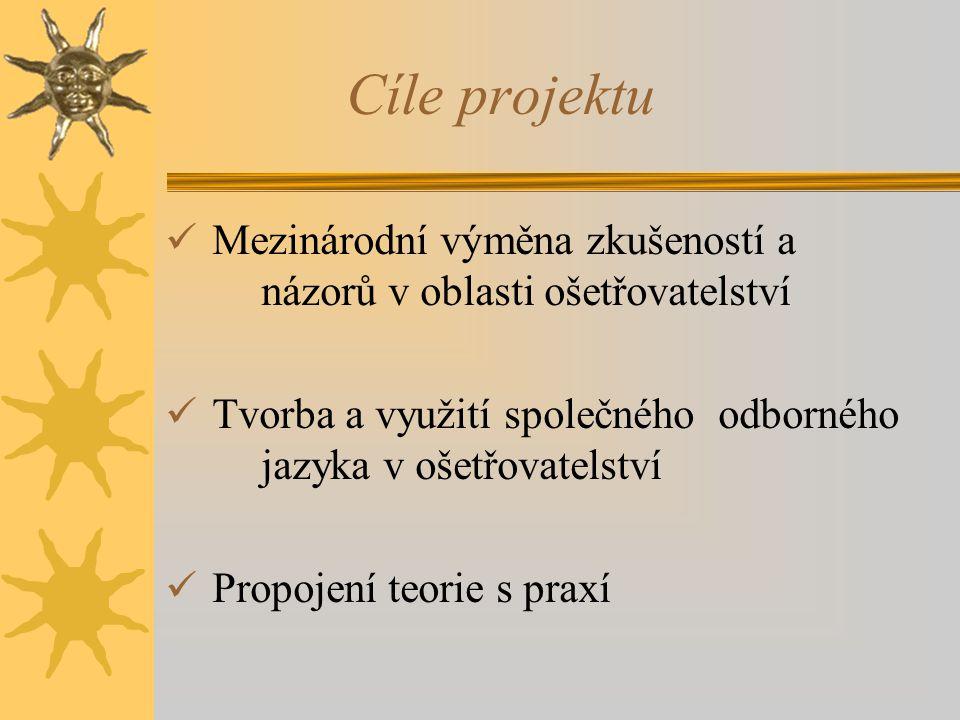 Cíle projektu Mezinárodní výměna zkušeností a názorů v oblasti ošetřovatelství. Tvorba a využití společného odborného jazyka v ošetřovatelství.