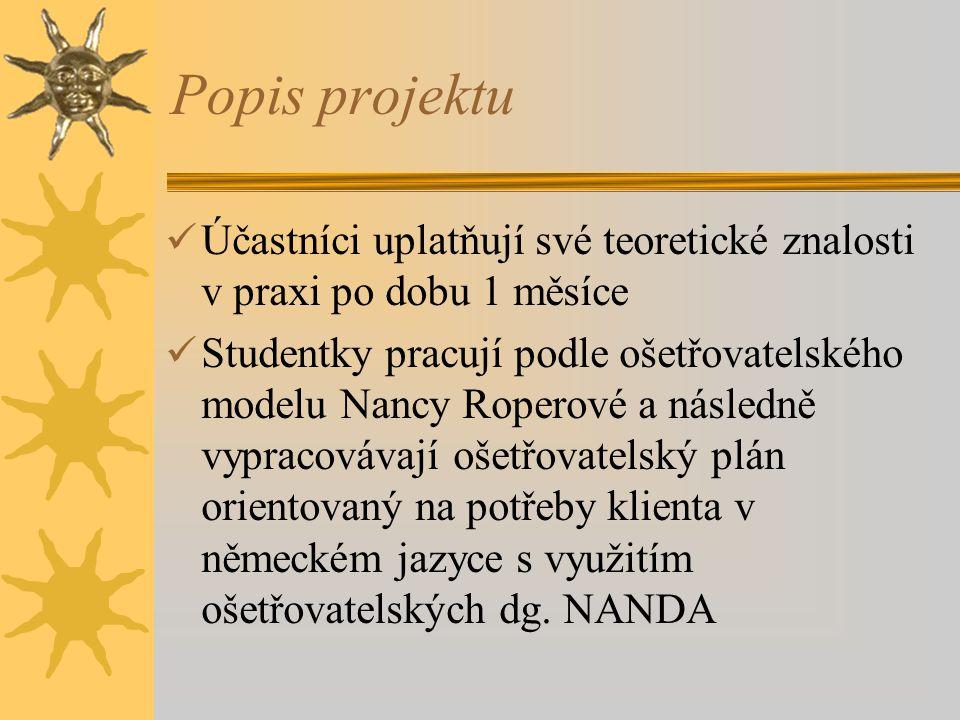 Popis projektu Účastníci uplatňují své teoretické znalosti v praxi po dobu 1 měsíce.