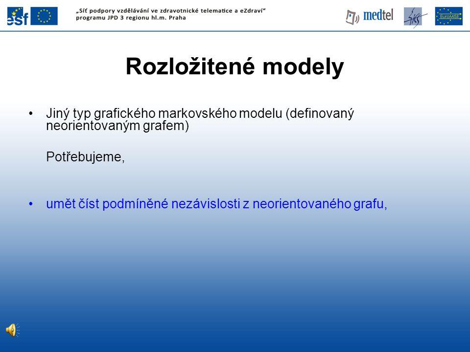 Rozložitené modely Jiný typ grafického markovského modelu (definovaný neorientovaným grafem) Potřebujeme,