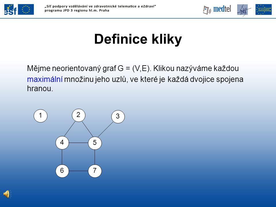 Definice kliky Mějme neorientovaný graf G = (V,E). Klikou nazýváme každou. maximální množinu jeho uzlů, ve které je každá dvojice spojena hranou.