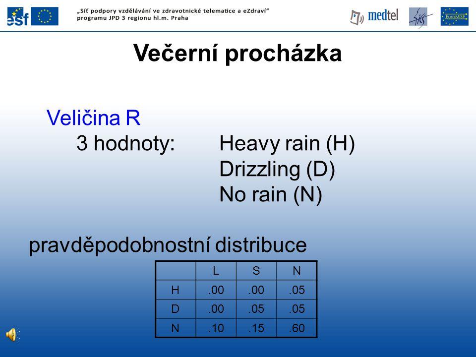 Večerní procházka Veličina R 3 hodnoty: Heavy rain (H) Drizzling (D)