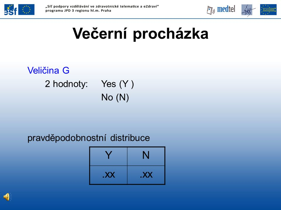 Večerní procházka Y N .xx Veličina G 2 hodnoty: Yes (Y ) No (N)