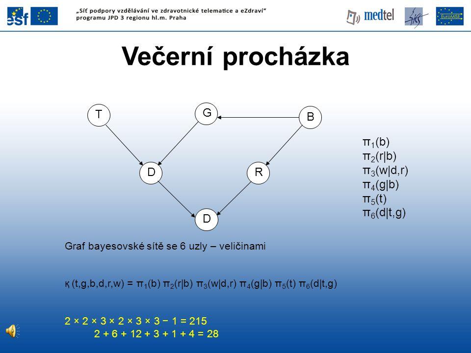 Večerní procházka T G B π1(b) π2(r|b) π3(w|d,r) π4(g|b) π5(t)