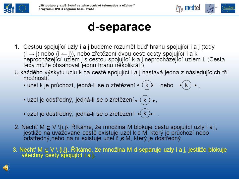 d-separace Cestou spojující uzly i a j budeme rozumět bud' hranu spojující i a j (tedy.