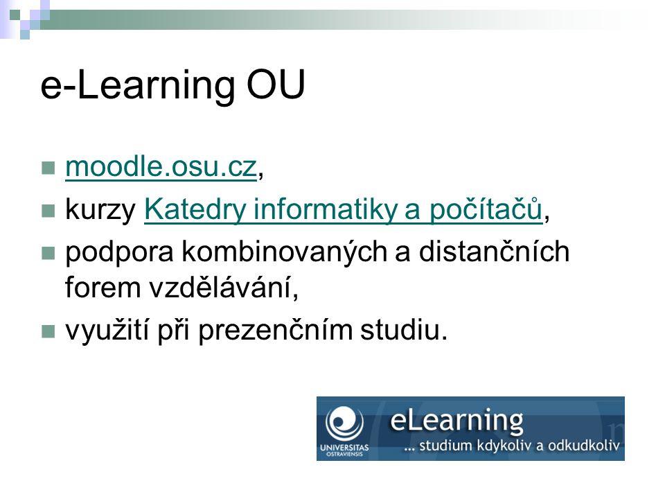 e-Learning OU moodle.osu.cz, kurzy Katedry informatiky a počítačů,