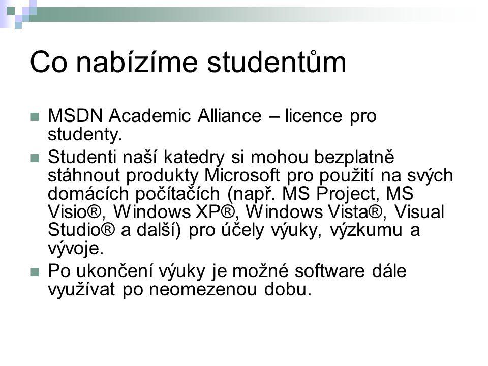 Co nabízíme studentům MSDN Academic Alliance – licence pro studenty.