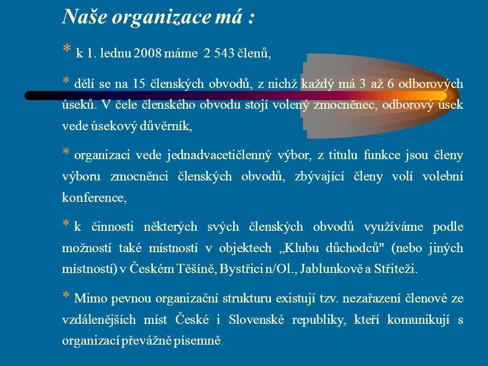 Naše organizace má : k 1. lednu 2008 máme 2 543 členů,