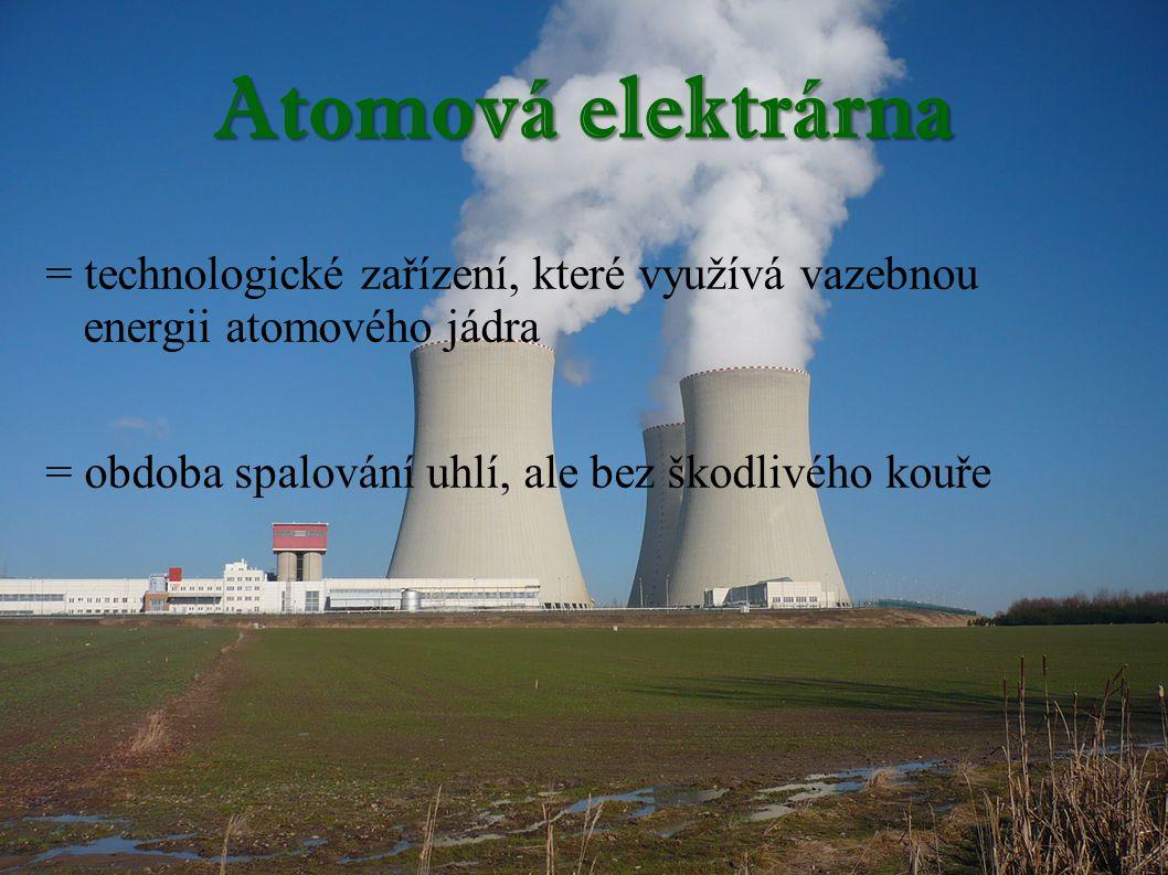 Atomová elektrárna = technologické zařízení, které využívá vazebnou energii atomového jádra.
