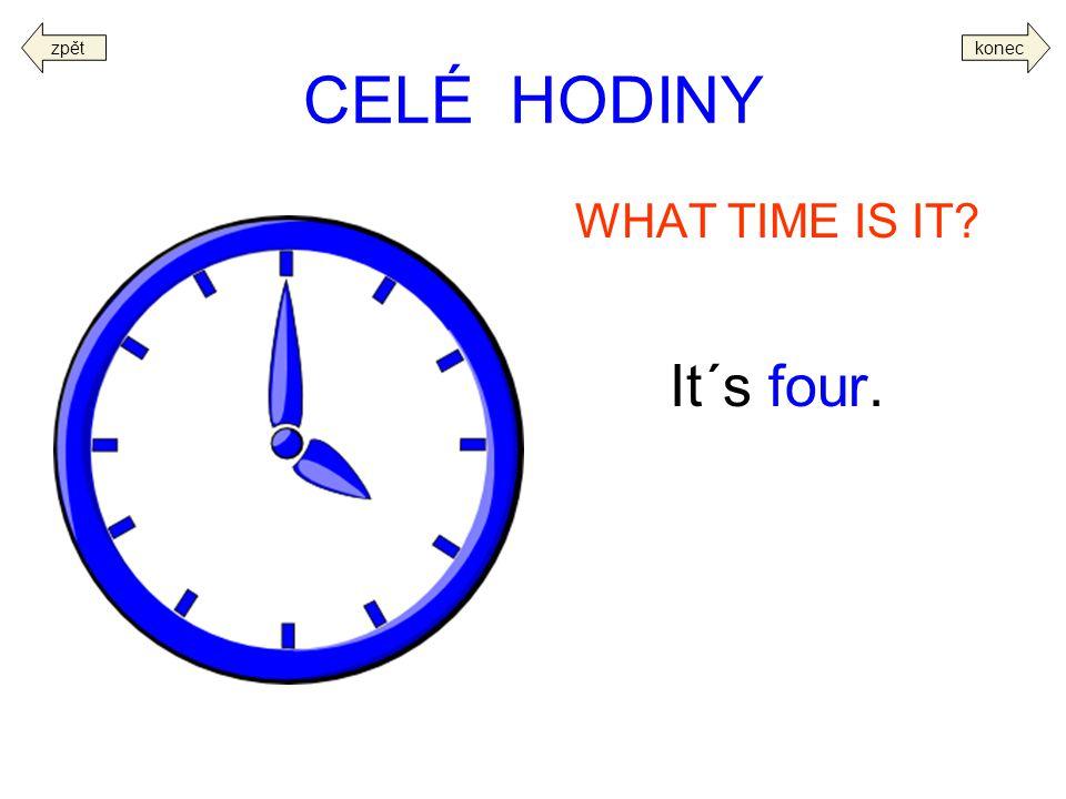 zpět konec CELÉ HODINY WHAT TIME IS IT It´s four.