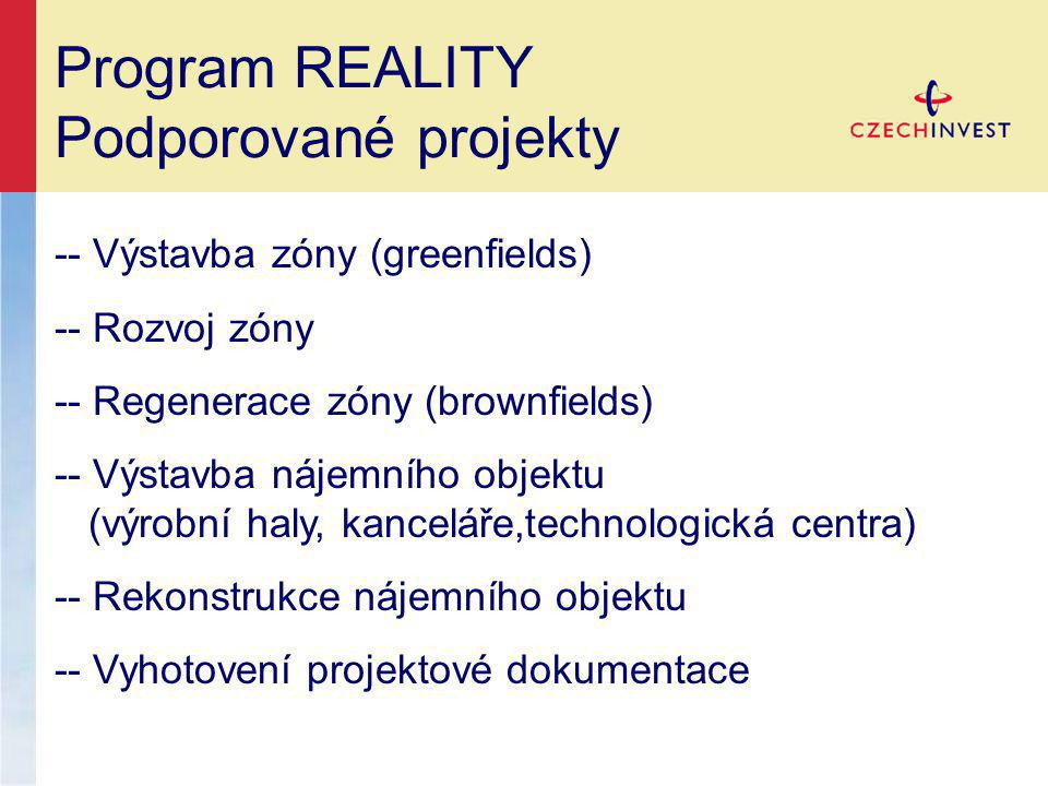 Program REALITY Podporované projekty -- Výstavba zóny (greenfields)