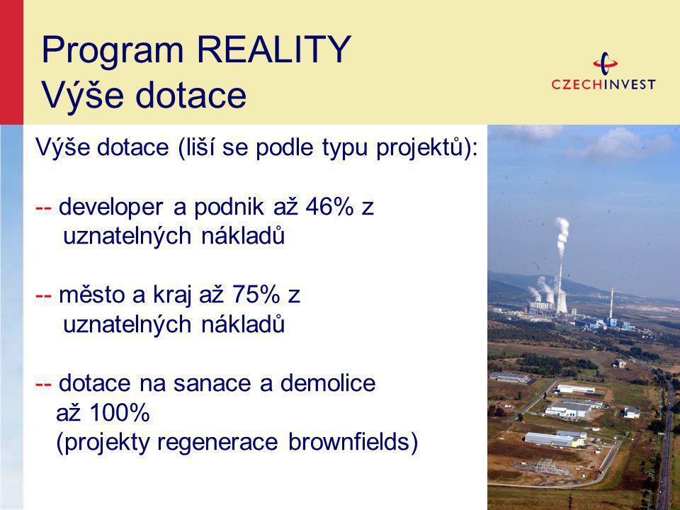 Program REALITY Výše dotace Výše dotace (liší se podle typu projektů):