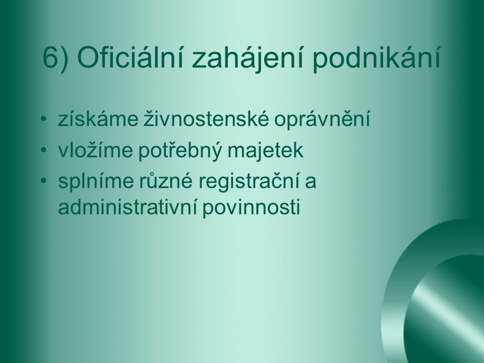 6) Oficiální zahájení podnikání