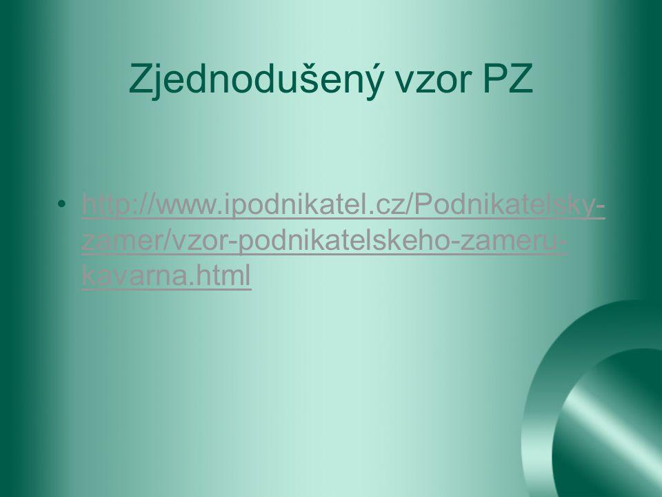 Zjednodušený vzor PZ http://www.ipodnikatel.cz/Podnikatelsky-zamer/vzor-podnikatelskeho-zameru-kavarna.html.