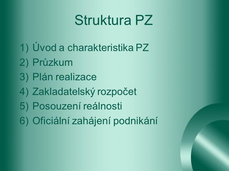 Struktura PZ Úvod a charakteristika PZ Průzkum Plán realizace