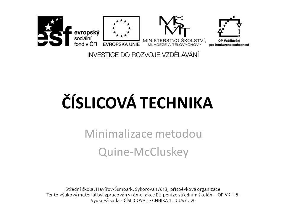 Minimalizace metodou Quine-McCluskey
