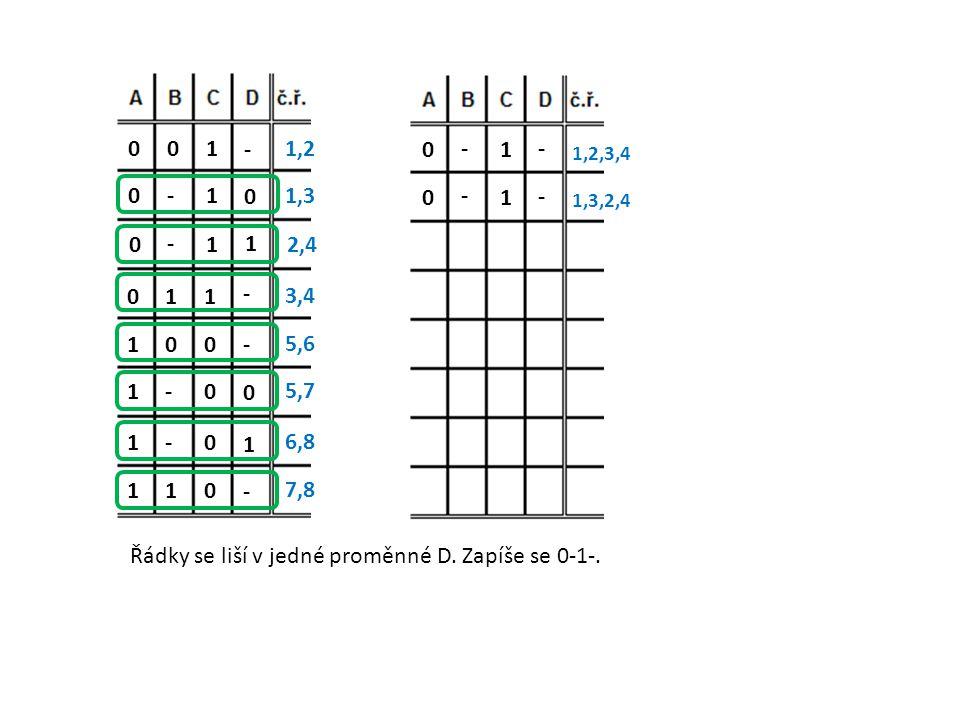 Řádky se liší v jedné proměnné D. Zapíše se 0-1-.