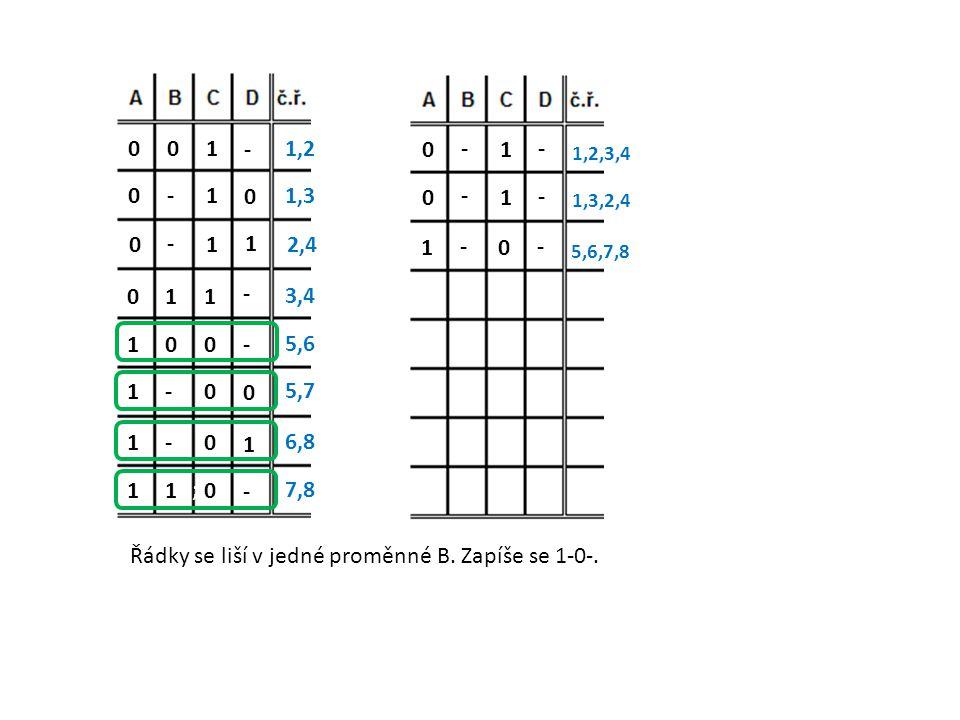 Řádky se liší v jedné proměnné B. Zapíše se 1-0-.