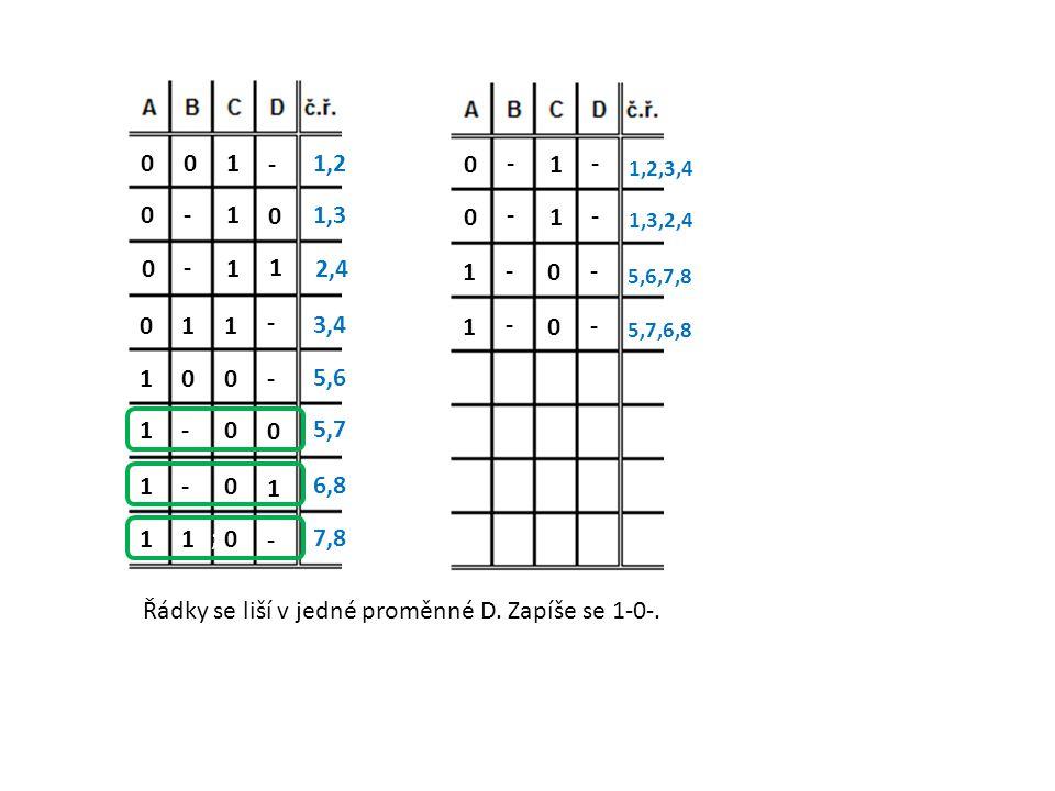 Řádky se liší v jedné proměnné D. Zapíše se 1-0-.