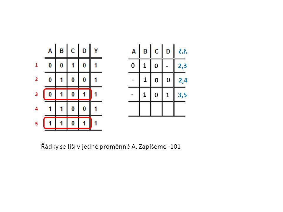 Řádky se liší v jedné proměnné A. Zapíšeme -101